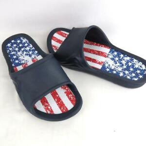 Men Rubber Slippers Red White  Blue Size 7 Made in the USA Sandal Slides Slip On