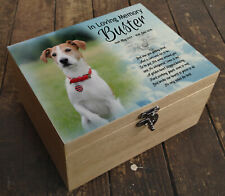 Wooden Pet Urn Dog Box Cremation Ashes Casket & headstone tile Jack Russell