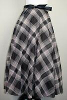 Mid Century Vintage Beige Tartan Plaid Midi Swing Skirt BNWT Size 12 14 16