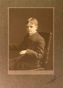 Edward Curtis - Signed Seattle Studio Portrait of Young Boy circa 1910s