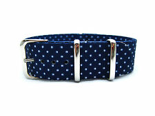 HNS Zulu 20MM Double Graphic Printed White Dots Navy BG Nylon G10 Watch Strap