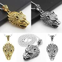 Men's Punk Stainless Steel Cool Wolf's Head Pendant Necklace Jewelry