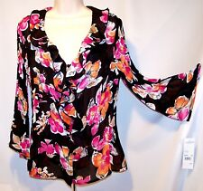 NEW $44Tag LG Notations Floral Crinkle PLEATED Chiffon FLIRTY FLUTTER Blouse TOP