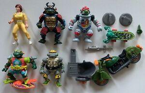 Original TMNT 5 Figure lot with accessories Teenage Mutant Ninja Turtles