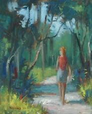 1970 Oil on Canvas Woman In Florida Landscape by Florida Artist Roy Nichols