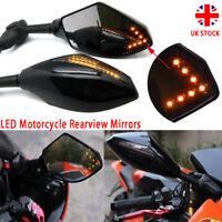 Sport Motorcycle Motorbike Rearview Wing Mirrors LED Turn Signal Indicator Smoke