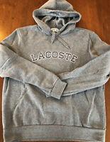 Lacoste Hoodie Gray Sweatshirt XL Large Men's Embroidered EUC