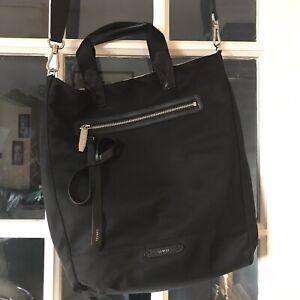 Lancel Tote Cross Body Bag Black And Cream Reversable