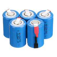 5 PCS Ni-Cd 4/5 SubC Batteries 1.2V 2200mAh Rechargeable Battery With Tab Blue