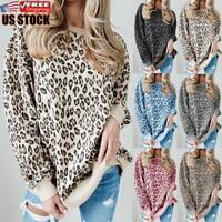 Women's Leopard Printed Sweatshirt Ladies Long Sleeve Loose Jumper Tops Pullover