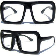 FLAT TOP SQUARE BIG BOLD OVERSIZE BLACK THICK FRAME CLEAR LENS NERDY GLASSES