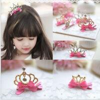 Baby Kids Girls Hair Accessories Rhinestone Crown Hair Clip Ribbon Bow Hairpin