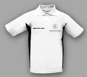 Neu Herren Mercedes AMG Polo Shirt T-Shirt Fan Bekleidung mit Stickerei