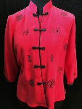 Womens Ruihua Chinese Silk Top Shirt Blouse Red XL US Size 10