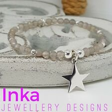 Inka 925 Sterling Silver & Grey Agate bead Stacking Bracelet large star charm
