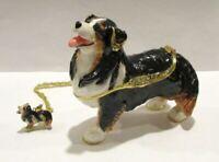 Jeweled Australian Shepherd Dog Trinket Box w Matching Pendant Necklace