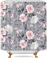 Gray Pink Elegant Floral Farmhouse Shabby Chic Waterproof Fabric Shower Curtain