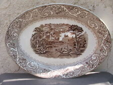 Rhine Pattern Foley Potteries Antique Ceramic Oval Platter Brown Transfer Ware
