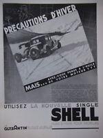 PUBLICITÉ DE PRESSE 1933 SINGLE SHELL HUILE D'HIVER POUR MOTEUR ET GLYSANTIN