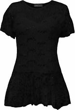 Womens Floral Pattern Short Sleeve Flared Peplum Frill Plus Size Lace Top Tunic Black UK 22/24