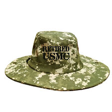 100% Cotton Military Digital Boonie Bush Hiking Outdoor Hat RETIRED USMC TEXT