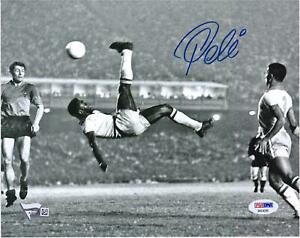 "Pele Brazil Signed 8"" x 10"" Black & White Bicycle Kick Photo Signed in Blue"