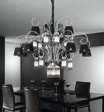 Lampadario moderno di design argento con cristalli coll. BELL casinò 1818/L25L