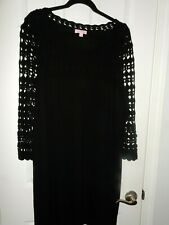 Lilly Pulitzer Black Wool Dress with Crochet Top   size XL
