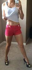 BeBe Denim Dress Shorts Jean Red Mini Sexy Club 50s PinUp Rockabilly Pants 4/S