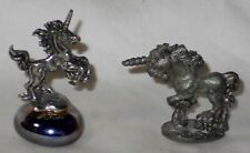 2 Small Vintage Pewter Unicorns Unmarked 1 On An Iridescent Stone Gorgeous L@@K!