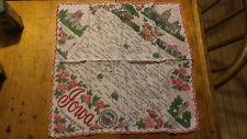 Vintage Souvenir State Map of Iowa Hanky, Handkerchief Hawkeye State,Scalloped