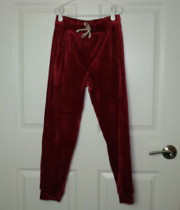 Girls Tea Collection Velour Joggers Earth Red Elastic Waist Decorative Tie 12