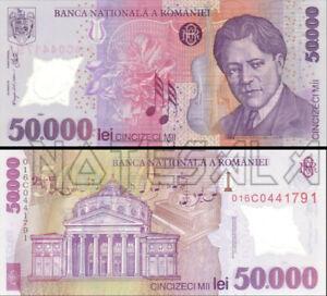 ROMANIA RUMANIA 50000 50,000 LEI 2001 (2001) PREFIX 01 Pick-113a POLYMER NEW-UNC