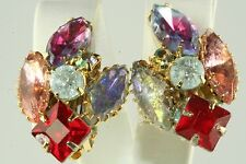 VTG OLD STORE STOCK JULIANA MULTI COLOR GLASS & RHINESTONE CLIP EARRINGS