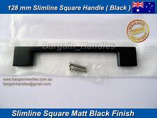 Kitchen door handles Metal Matt Black Finish 20x128mm Stylish SlimLine Square