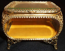 Vintage Gold Plated Ormolu Beveled Crystal Jewelry Casket Trinket Box
