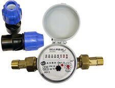 "20mm- 3/4"" BSP Cold Water Meter: MDPE connection"