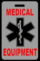 Lo-Viz Gray Medical Equipment Carry-On Bag Tag - CPAP BiPAP APNEA POC