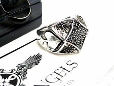 Men's Designer Spade Ring In Silver With Black Diamonds by Sacred Angels
