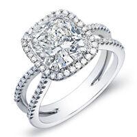 2.03 Ct. Cushion Cut Halo Round Cut Pave Diamond Engagement Ring I,VVS1 GIA 14K