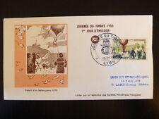 FRANCE PREMIER JOUR FDC YVERT 1018    BALLON POSTAL    12+3F    LYON   1955