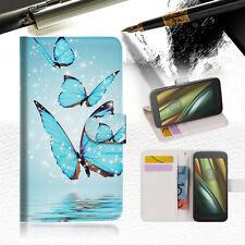Cyan Butterfly Wallet TPU Case Cover For  Motorola Moto E3-- A019