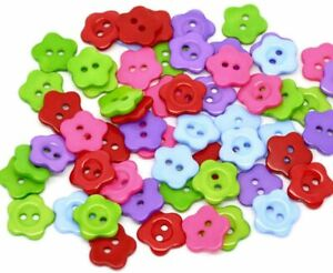Acrylic Flower buttons-14mm-assorted-2 Hole-Sewing-Knitting-baby-Crafts-UK sell