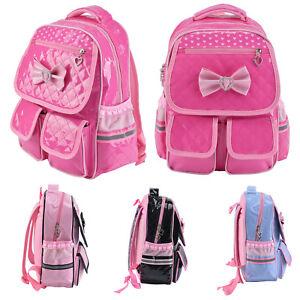 Kids Girls Bow Backpack School Book Bags Rucksack PU Waterproof Bag Gift