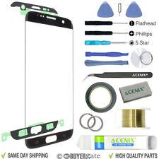 Samsung Galaxy S7 Edge negro pantalla de recambio lente frontal kit Reparación