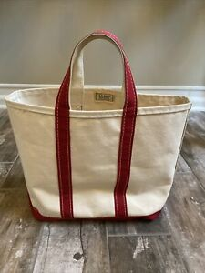 """Vtg. 80s LL Bean Red & Off White Boat And Tote Canvas Shopping Bag 15""""x12"""" USA"""