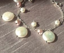 """Freshwater Coin Pearl & Pink Droplets 925 Silver 7"""" Bracelet Bridal Bridesmaid"""