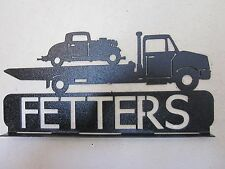 FLATBED TOW TRUCK(YOUR NAME) MAILBOX TOPPER TEXTURED BLACK POWDER COAT FINISH