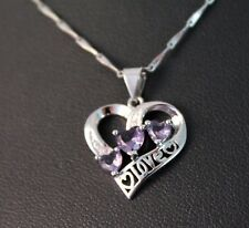 Silver 3 Purple Heart Rhinestone Pendant Necklace w/Free Jewelry Box and Ship