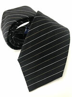Paul Smith Black Stripe Tie 9cm Blade Made in Italy Silver & Gold Fine Stripe